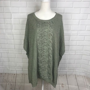 Chicos Sweater Olive Green Metallic Knit Pullover